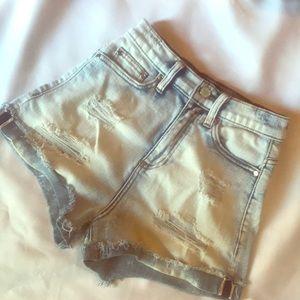 Bebe Denim High-Waisted Shorts